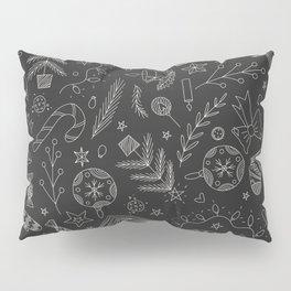 Black Christmas Doodles Pillow Sham