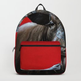 brave bull on red Backpack