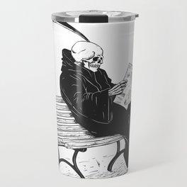 Grim reaper reading newspaper - cartoon skeleton - dark skull Travel Mug