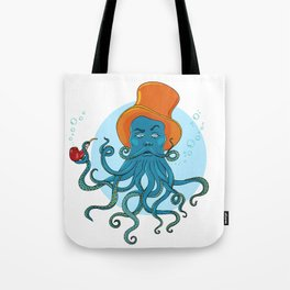 a man in a hat smoking pipe, a beard of  octopus tentacles Tote Bag