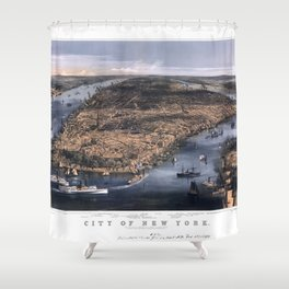 NEW YORK NYC city old map Father Day art print poster Shower Curtain