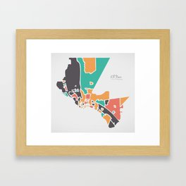 El Paso Texas Map with neighborhoods and modern round shapes Framed Art Print