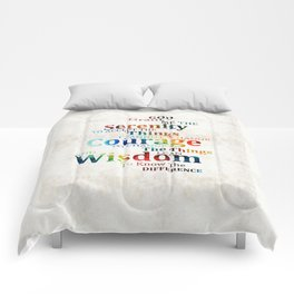Colorful Serenity Prayer by Sharon Cummings Comforters