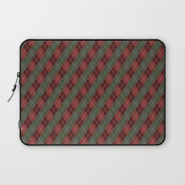 Red Green Plaid Gingham Christmas Holiday Laptop Sleeve