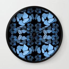 Modern vintage striking blue and black design featuring abundant floral ornament Wall Clock