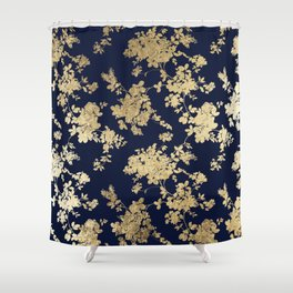 Elegant vintage navy blue faux gold flowers Shower Curtain