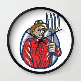 Organic Farmer Holding Pitchfork Woodcut Linocut Wall Clock