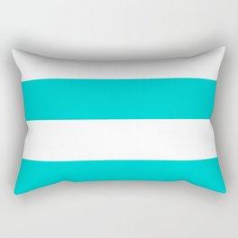 Wide Horizontal Stripes - White and Cyan Rectangular Pillow
