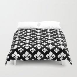 Fleur De Lis White on Black Duvet Cover