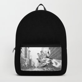 Black and White Selfie Giraffe in NYC Backpack