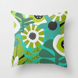 Fresh floral space Throw Pillow