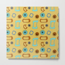 Mid Century Modern I in Mustard Yellow Metal Print