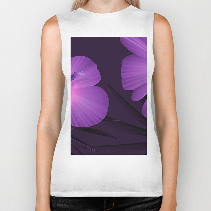 Ultraviolet Hibiscus Tropical Nature Print Biker Tank