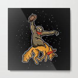 Sloth Rodeo Metal Print