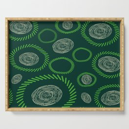 Geometric Circles Lines Green Ivory Serving Tray