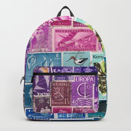 Midnight Sea Postage Stamp Collage Backpack