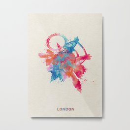 London, United Kingdom Colorful Skyround / Skyline Watercolor Painting Metal Print