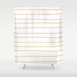 Valspar America Wood Yellow - Homey Cream - Glow Home Hand Drawn Horizontal Stripes on White Shower Curtain