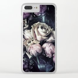 Roses and peonies vintage style Clear iPhone Case