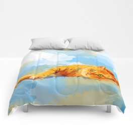 Cat Dream - orange tabby cat painting Comforters