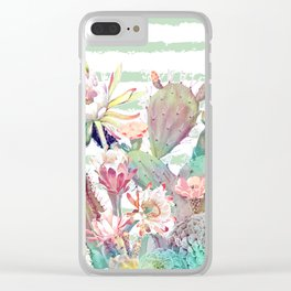 Watercolor cactus, floral and stripes design Clear iPhone Case
