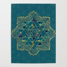 Sri Yantra  / Sri Chakra Gold, Marble and Teal Poster