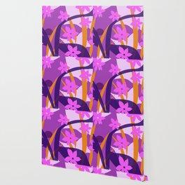 Pink blossoms Violet and orange leaf Wallpaper