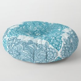 Teal & White Lace Pencil Doodle Floor Pillow