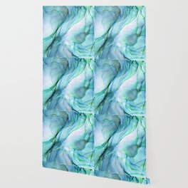 Aqua Turquoise Teal Abstract Ink Painting Wallpaper