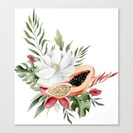 Watercolor topical flowers and fruits Canvas Print