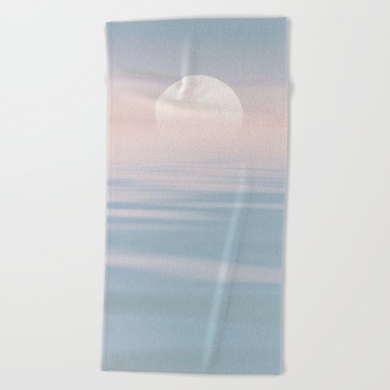 Moon and calm waters Beach Towel