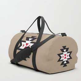 Navajo Aztec Pattern Black White Red on Light Brown Duffle Bag