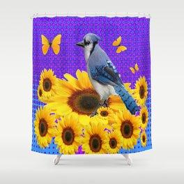 BLUE JAY YELLOW BUTTERFLIES SUNFLOWER ART Shower Curtain