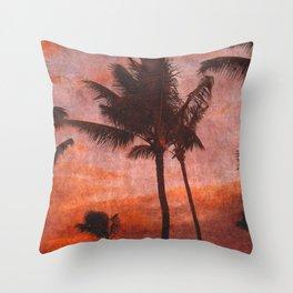 Maui Palms at Sunset Throw Pillow
