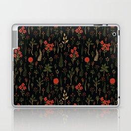 Green, Red-Orange, and Black Floral/Botanical Print Laptop & iPad Skin