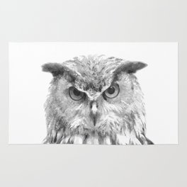 Black and white owl animal portrait Rug