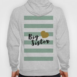 Big sister text with gold heart horizontal mint lines Hoody