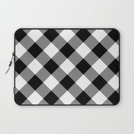 Gingham Plaid Black & White Laptop Sleeve