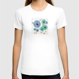 Blue & Green Flower Pattern T-shirt