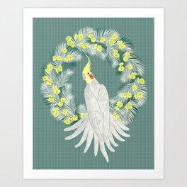 Cockatiel with daisy palm wreath Art Print