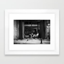 Morning coffee in a cafe - Black and white street photography Framed Art Print