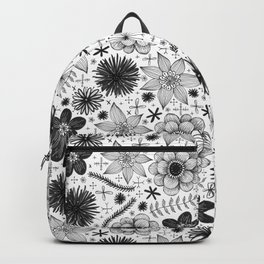 black and white floral print Backpack
