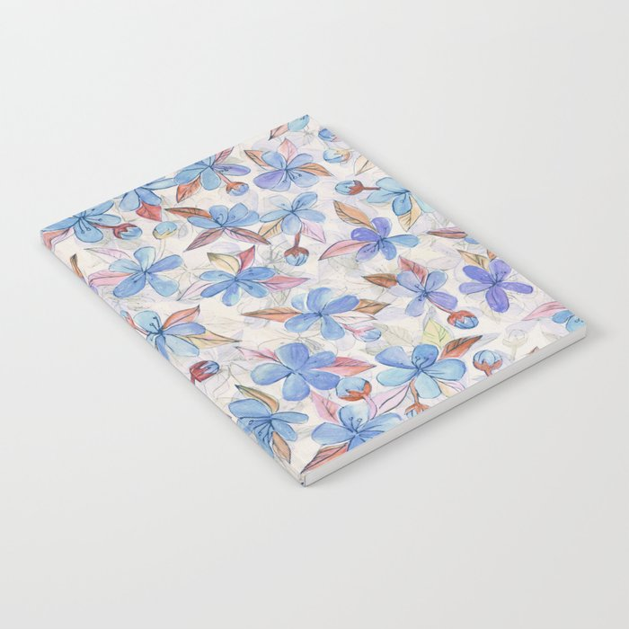 Purple Painted Floral Pattern Notebook
