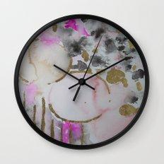 Spots or Dots Pink Abstract Painting Wall Clock