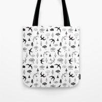 swallow Tote Bags featuring swallow by Hui_Yuan-Chang