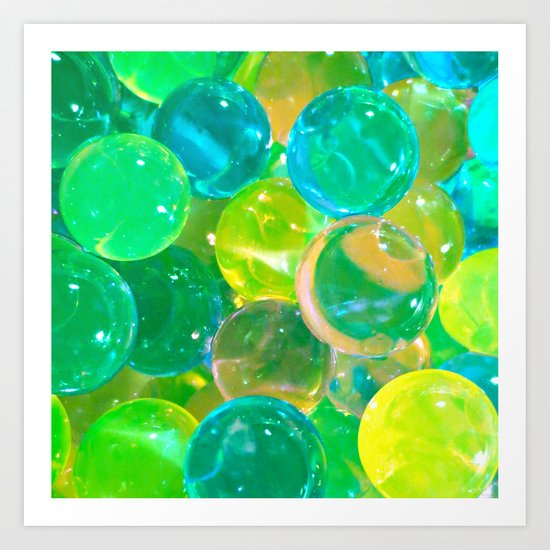 GREEN GLISTENING BUBBLY BUBBLES Art Print