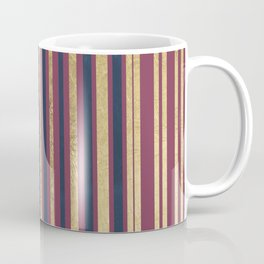 Geometric modern navy blue gold burgundy stripes Coffee Mug