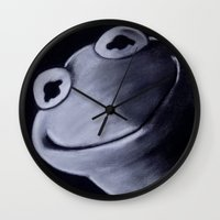 kermit Wall Clocks featuring KERMIT by John McGlynn