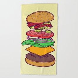 Vegan Burger Anatomy (No Words) Beach Towel