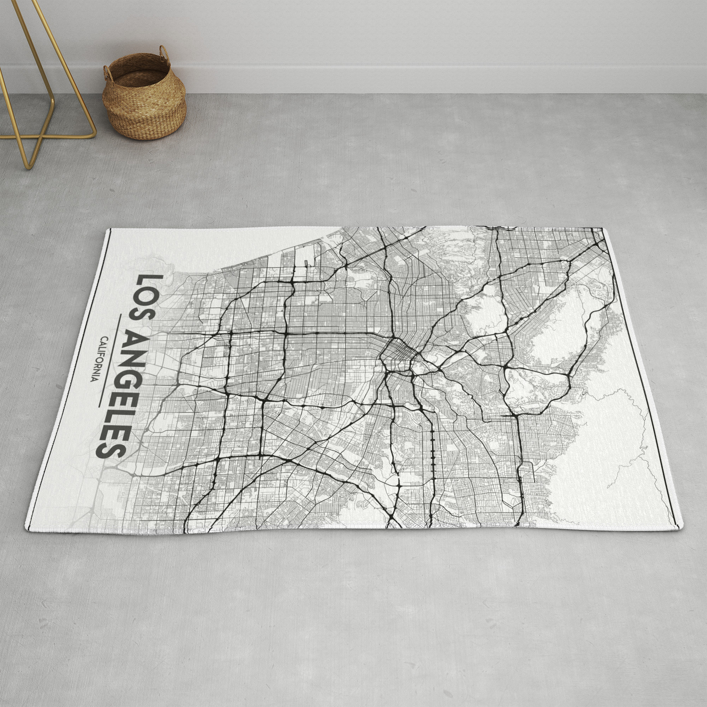 Minimal City Maps Map Of Los Angeles California United States Rug By Valsymot Society6